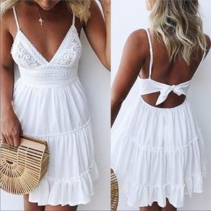 Little White Dress Open Back w Tie and Adjustable